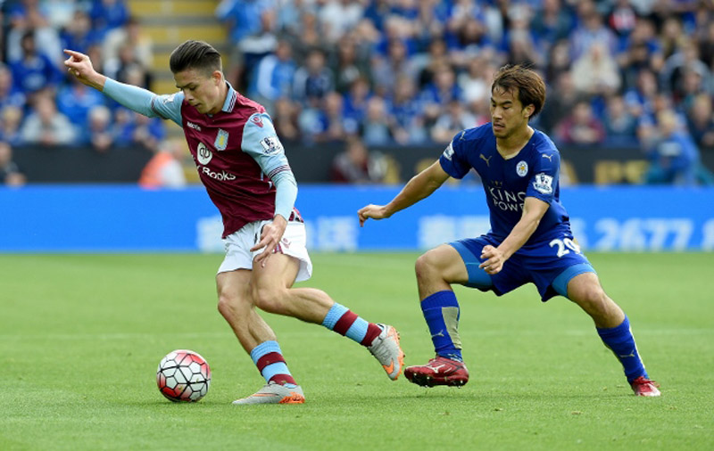 during the Barclays Premier League match between Leicester City v Aston Villa at the King Power Staduim on September 13, 2015 in Leicester, United Kingdom.